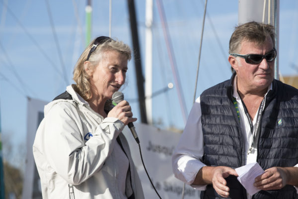 Bapteme du Class40 Fleury Michon Bio, skipper : Morgane Ursault-Poupon - en presence de Audrey Pulvar et Catherine Chabaud - Route du Rhum-Destination Guadeloupe 2018 - Saint Malo le 24/10/2018